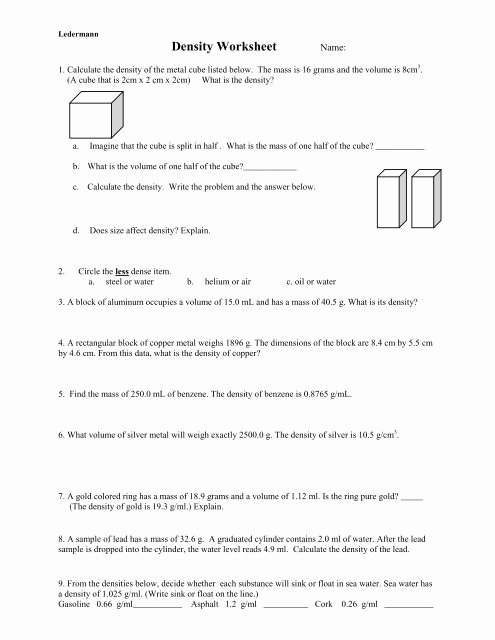 Density Practice Problem Worksheet Awesome Density Practice Problem Worksheet Answers A Block