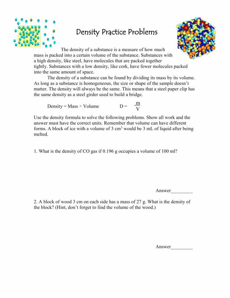 Density Practice Problem Worksheet Awesome Density Problems Worksheets
