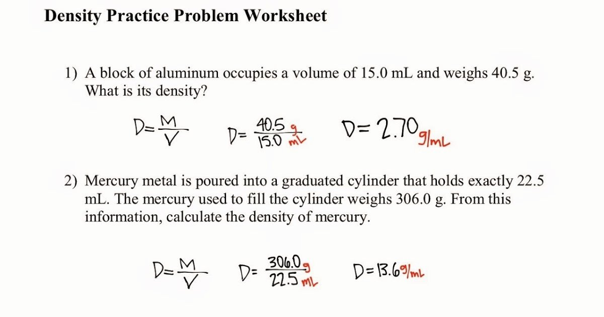 Density Practice Problem Worksheet Beautiful tom Schoderbek Chemistry Density Problems
