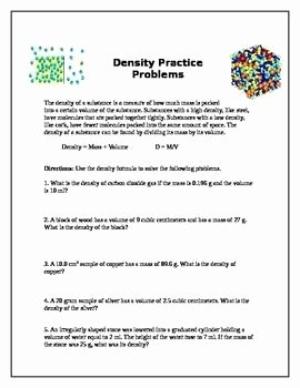 Density Practice Problem Worksheet Lovely Density Practice Problems Science