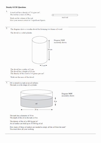 Density Practice Problem Worksheet New Density Exam Question New Gcse Physics Spec by