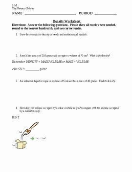 Density Practice Problems Worksheet Elegant Density Practice Problem Worksheet Siteraven