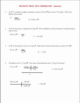 Density Practice Problems Worksheet Fresh Density Practice Problems by Amy Brown Science