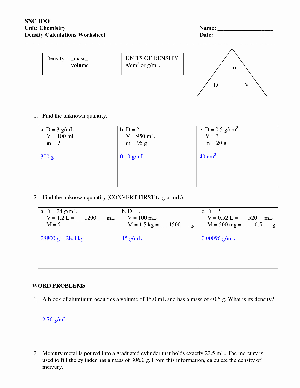 Density Practice Problems Worksheet Inspirational Density Worksheets with Answers
