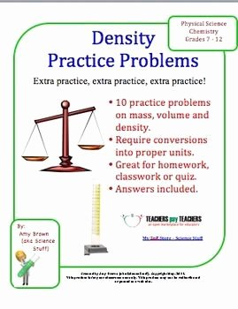 Density Practice Problems Worksheet New Density Practice Problems