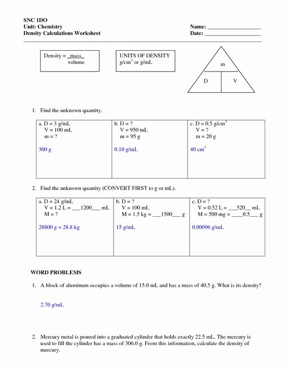Density Problems Worksheet with Answers Best Of Best Ideas About Density Worksheets Science Worksheets