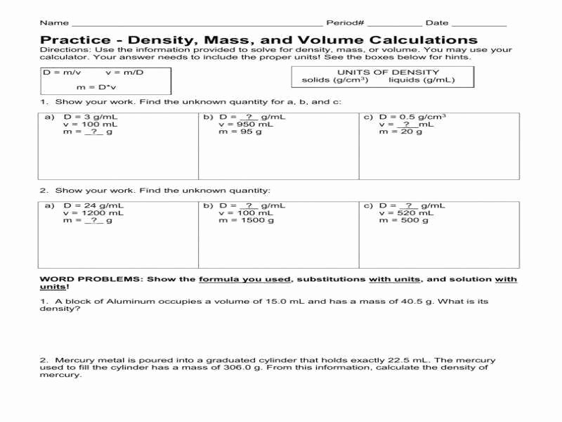 Density Problems Worksheet with Answers Luxury Density Worksheet Answers