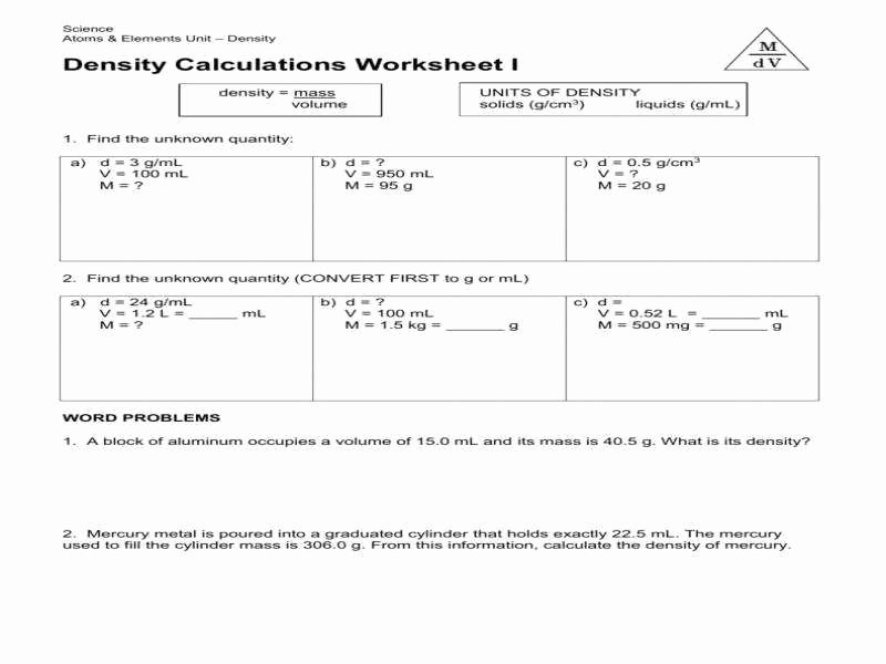 Density Problems Worksheet with Answers Luxury Density Worksheet Chemistry