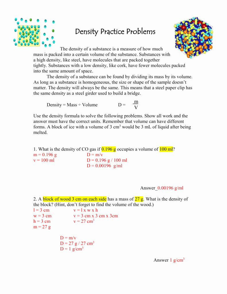 Density Worksheet Answer Key Awesome Density Practice Problems Answer Key From Class Mon Sept 28