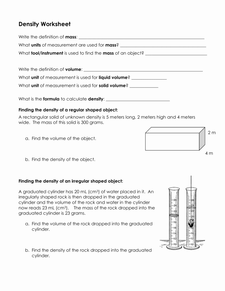 Density Worksheet Answer Key Best Of Density Worksheet