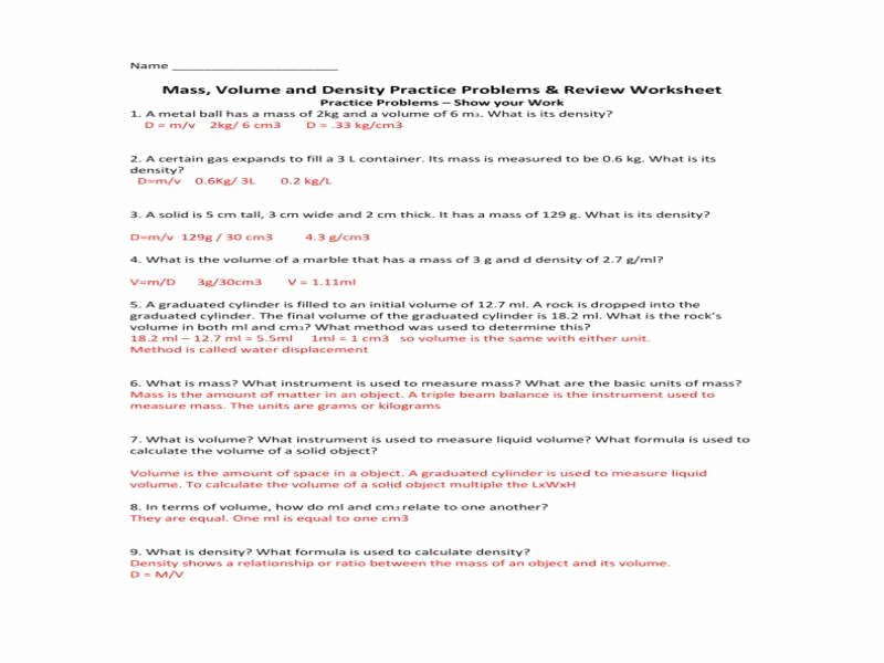 Density Worksheet Answer Key Fresh Density Worksheet Answers