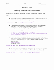 Density Worksheet Answer Key Fresh Density Worksheet