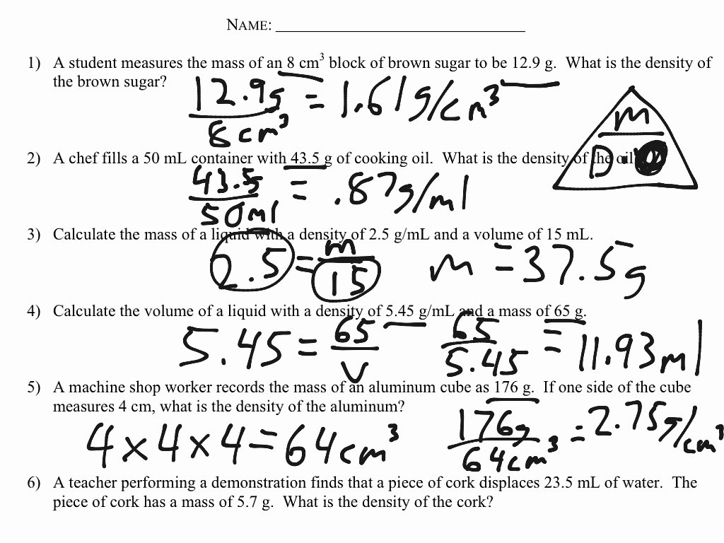 Density Worksheet Answer Key Luxury Density Calculations Worksheet Science