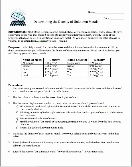 Density Worksheet Answer Key New Amy Brown Science Lab Determining the Density Of Unknown