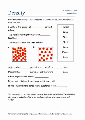 Density Worksheet Answer Key New An Introduction to Density by Olivia Calloway Teaching