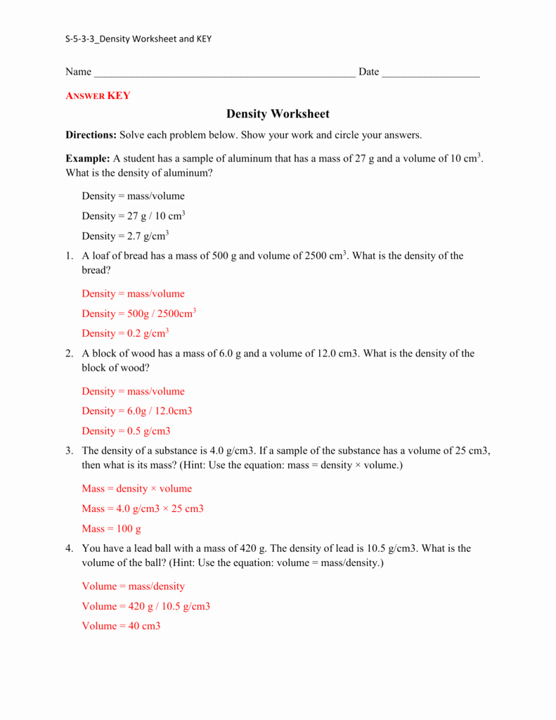 Density Worksheet Answer Key New Density Practice Worksheet Answers