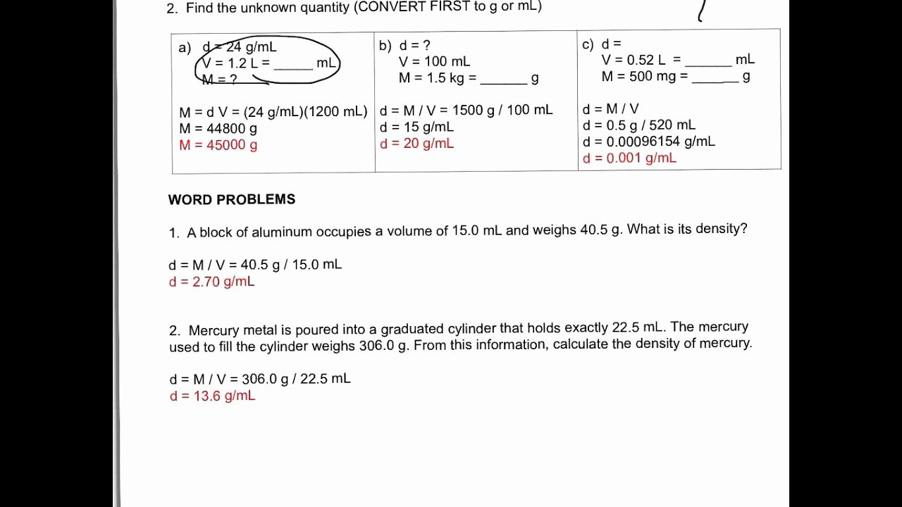 Density Worksheet Answer Key Unique Density Calculations