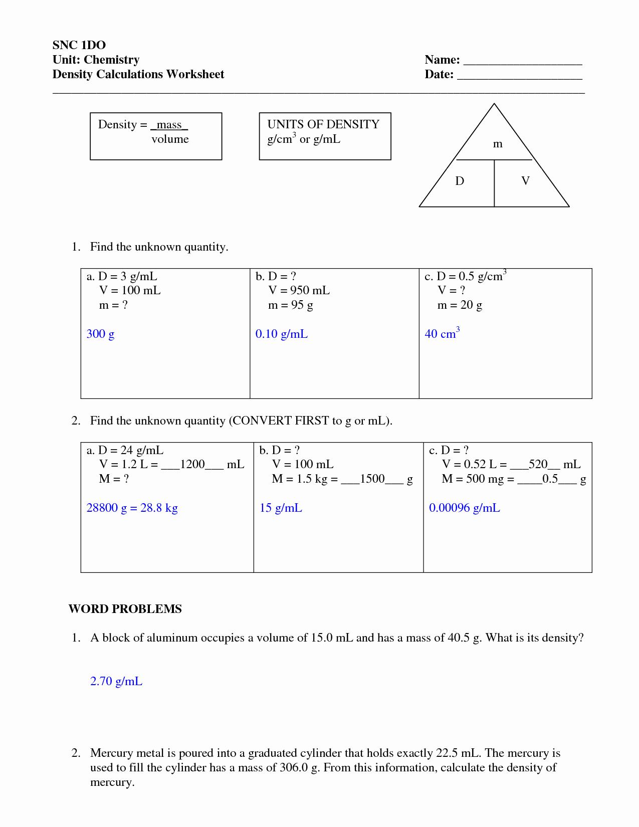 Density Worksheet Chemistry Answers Beautiful Density Worksheets with Answers