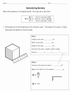 Density Worksheet Chemistry Answers Fresh Density Worksheets with Answers