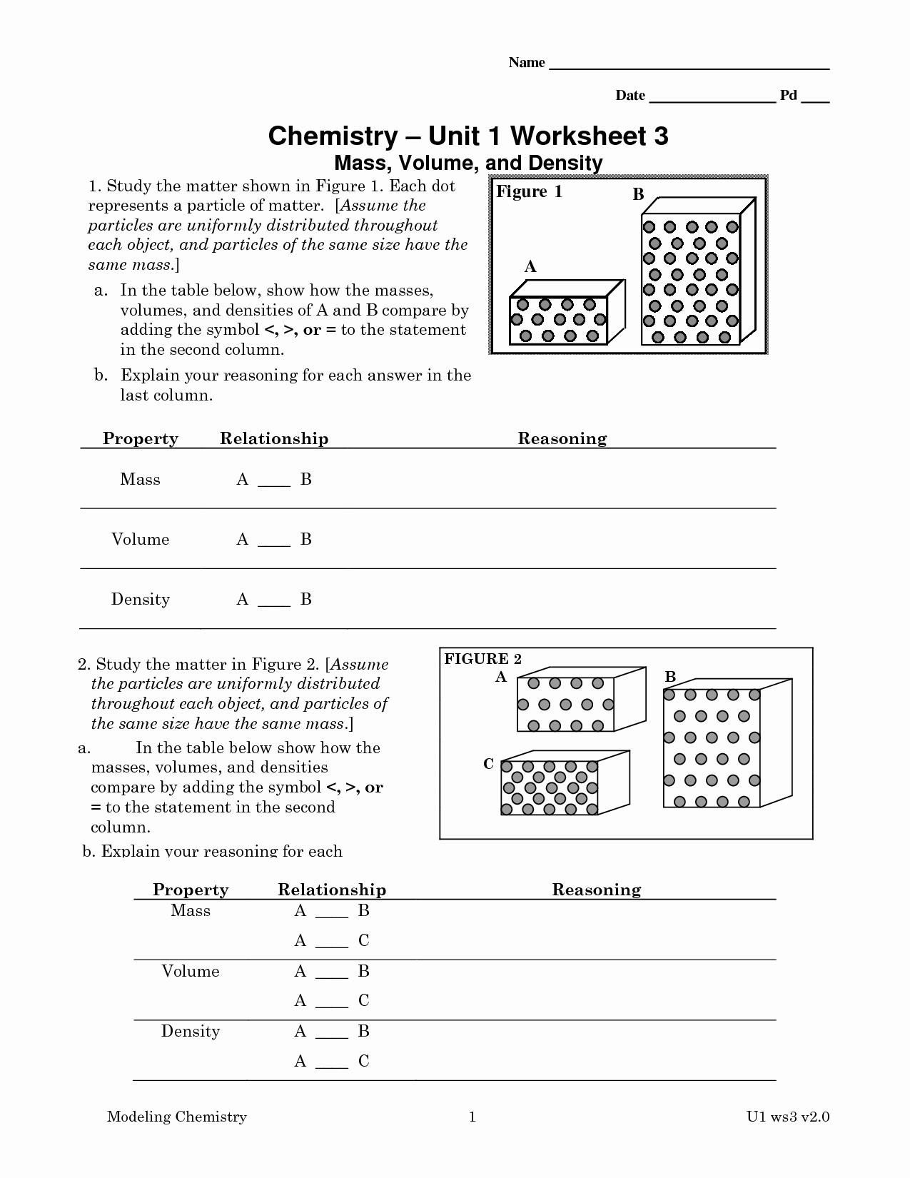 Density Worksheet Chemistry Answers Lovely 9 Best Of Chemistry Worksheet Matter 1 Answer Key