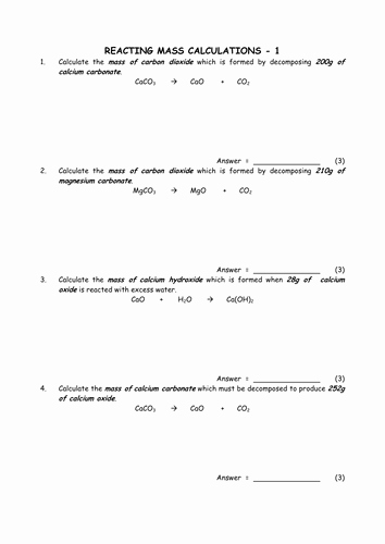 Density Worksheet Chemistry Answers Lovely Chemistry Reacting Mass Calculations Collection by