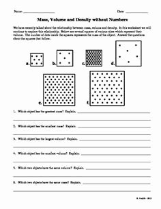 Density Worksheet Middle School Elegant Mass Volume and Density without Numbers