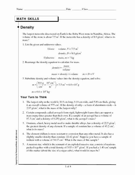 Density Worksheet Middle School Inspirational Density Worksheet Answers