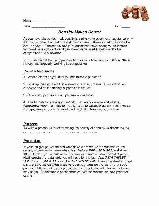 Density Worksheet Middle School Inspirational Density Worksheet Middle School