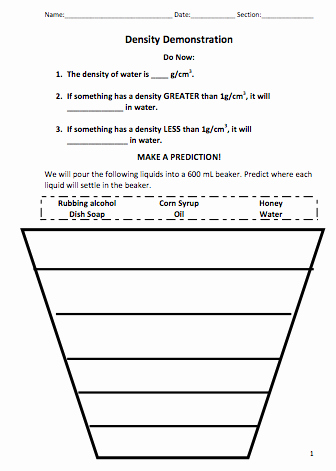 Density Worksheet Middle School Luxury Density Demonstration
