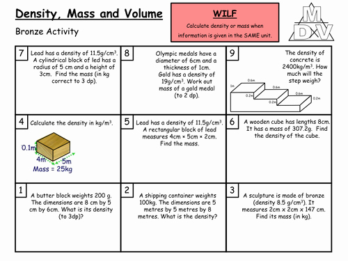 Density Worksheet Middle School New Density Resources