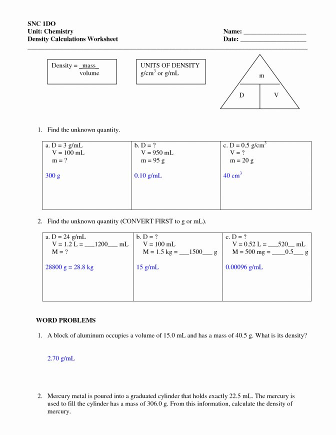 Density Worksheet Middle School New Density Worksheet Middle School