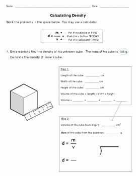 Density Worksheet Middle School Unique Calculating Density Mod Science