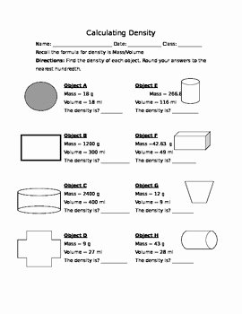 Density Worksheet Middle School Unique Calculating Density Worksheet by Mr Wagners Science Store