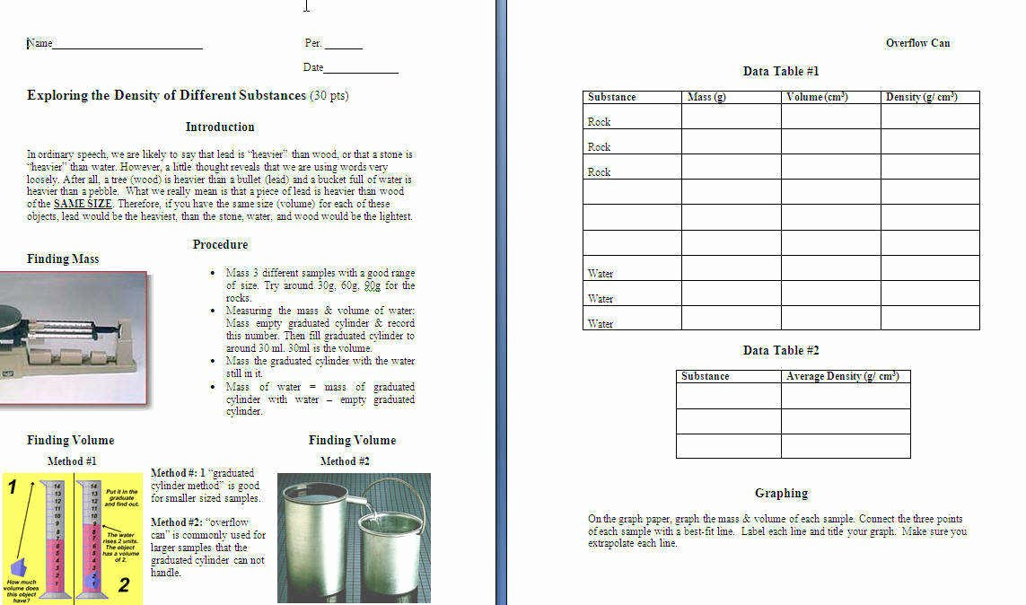 Density Worksheet Middle School Unique Density Worksheet Middle School