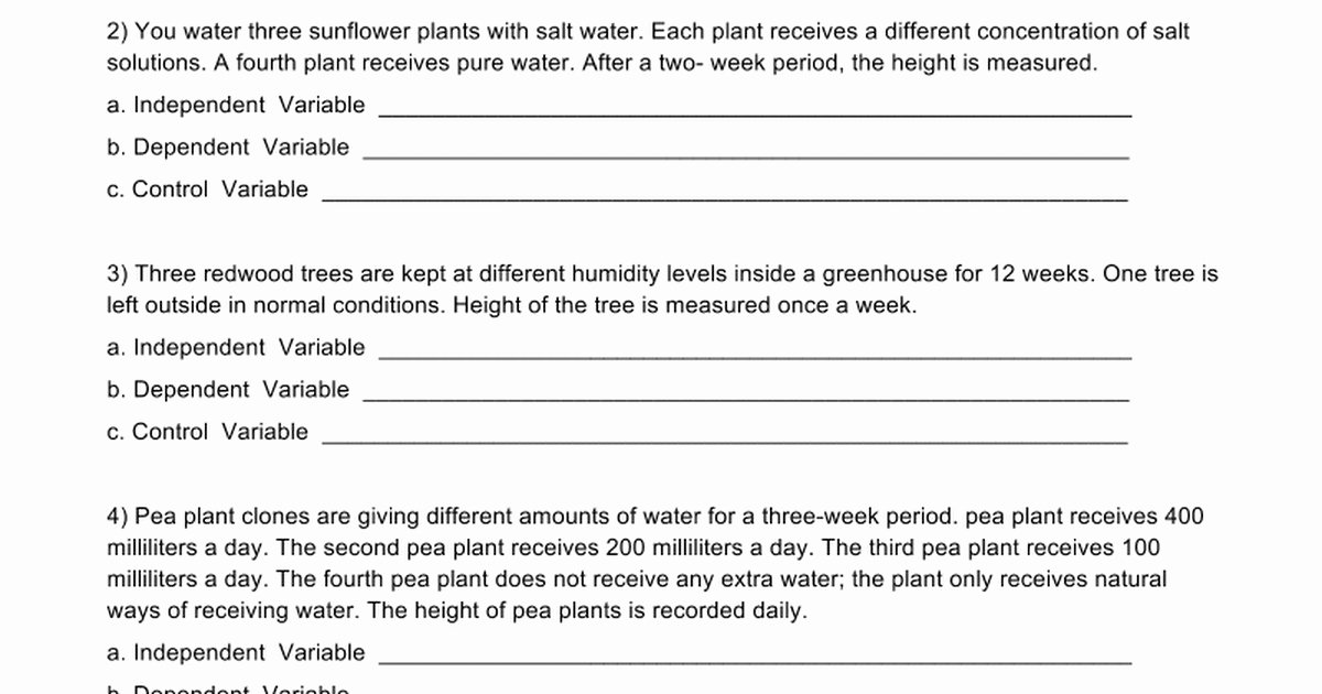 Dependent and Independent Variables Worksheet Best Of Identifying Variables Worksheet