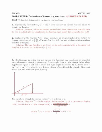 Derivative Of Trigonometric Functions Worksheet Beautiful Trig