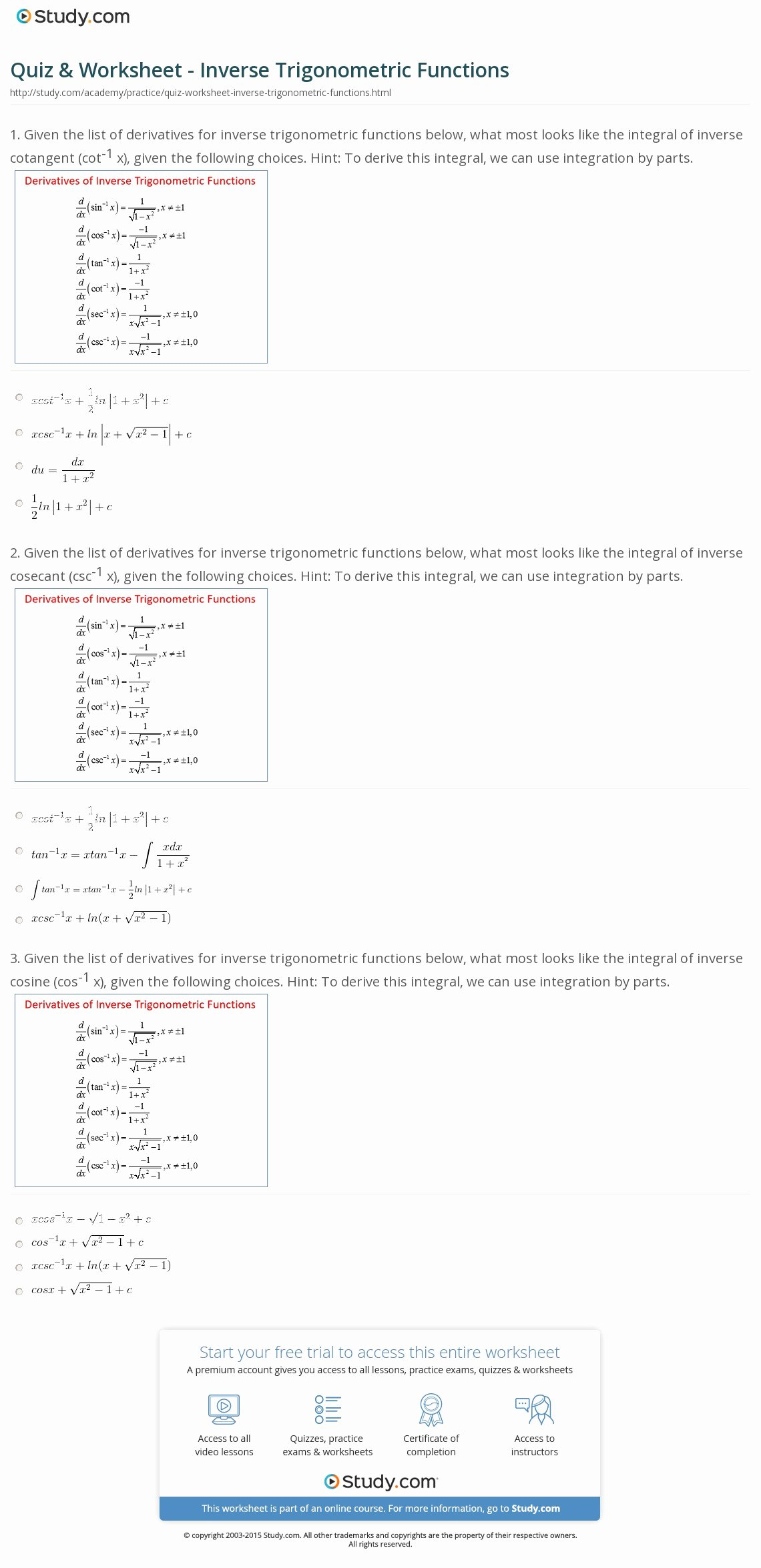 Derivative Of Trigonometric Functions Worksheet Fresh Quiz & Worksheet Inverse Trigonometric Functions