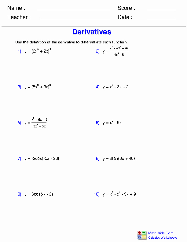 Derivative Of Trigonometric Functions Worksheet Inspirational Calculus Worksheets