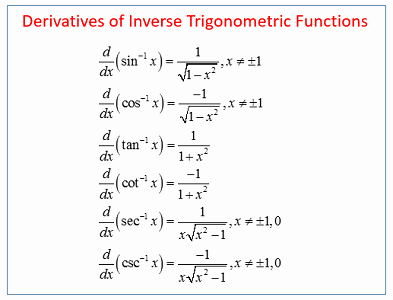 Derivative Of Trigonometric Functions Worksheet Inspirational Quiz & Worksheet Inverse Trigonometric Functions