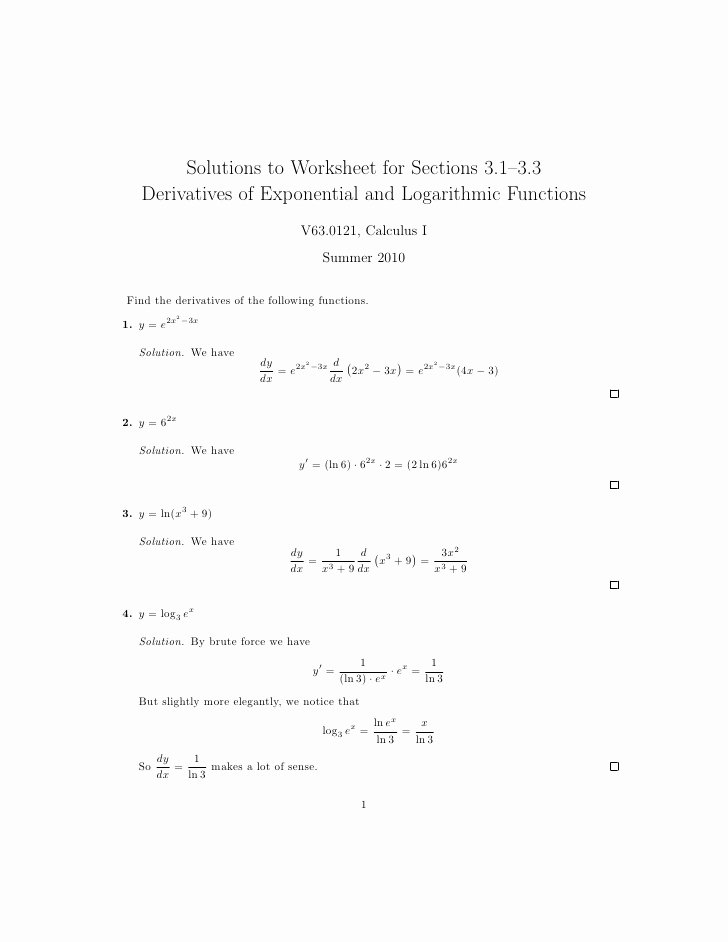 Derivative Of Trigonometric Functions Worksheet Lovely Lesson 8 Derivatives Of Logarithmic and Exponential