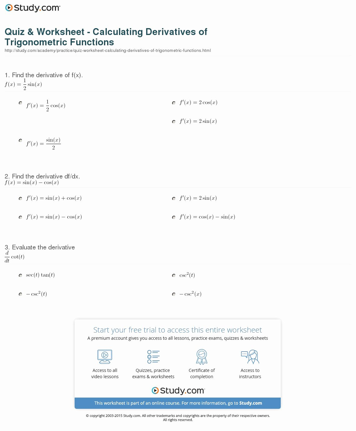 Derivative Of Trigonometric Functions Worksheet Lovely Quiz & Worksheet Calculating Derivatives Of