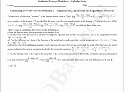 Derivative Of Trigonometric Functions Worksheet New Calculus Worksheet Derivatives by Definition 3