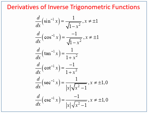 Derivative Of Trigonometric Functions Worksheet Unique Calculus Inverse Trig Derivatives solutions Examples