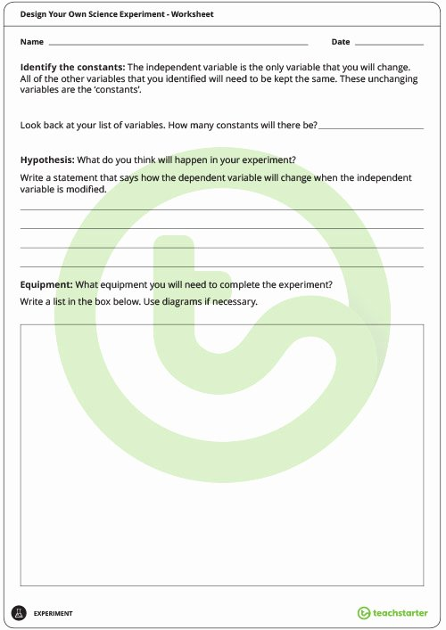 Designing An Experiment Worksheet Beautiful Design Your Own Experiment Worksheet Teaching Resource