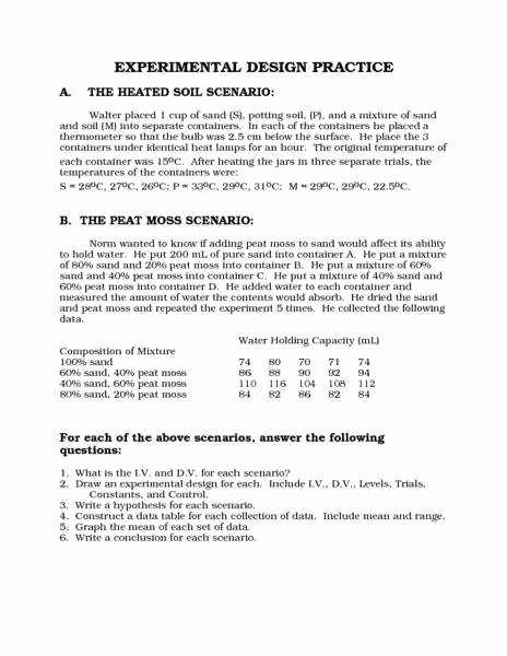 Designing An Experiment Worksheet Fresh Experimental Design Worksheet
