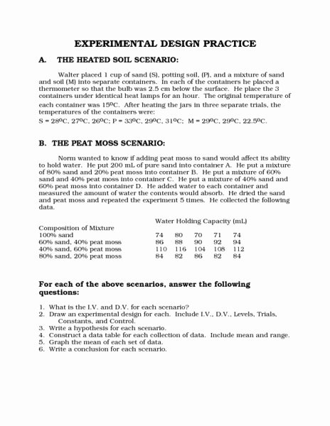 Designing An Experiment Worksheet Luxury Printables Experimental Design Worksheet Kigose