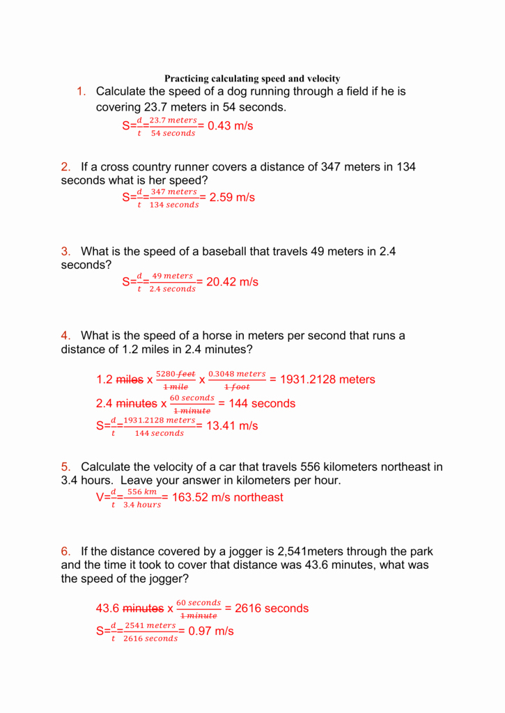 Determining Speed Velocity Worksheet Answers Beautiful Speed Velocity Practice Answers Ica