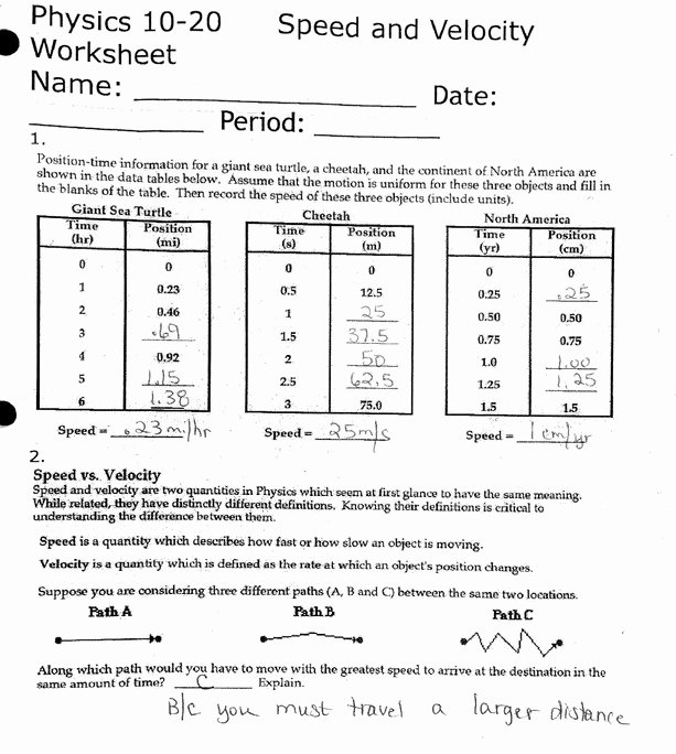 Determining Speed Velocity Worksheet Answers Inspirational Speed and Velocity Worksheet