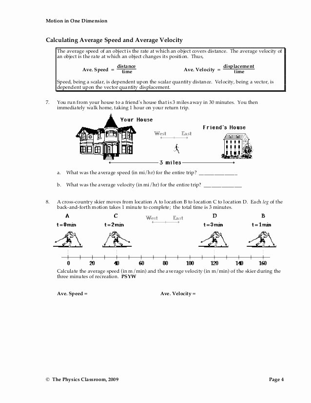 Determining Speed Velocity Worksheet Answers Lovely 1d Motion Worksheet Packet