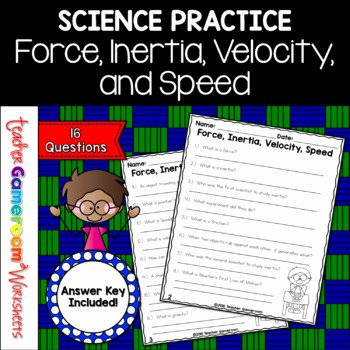 Determining Speed Velocity Worksheet Answers Luxury force Inertia Velocity and Speed Science Worksheet by
